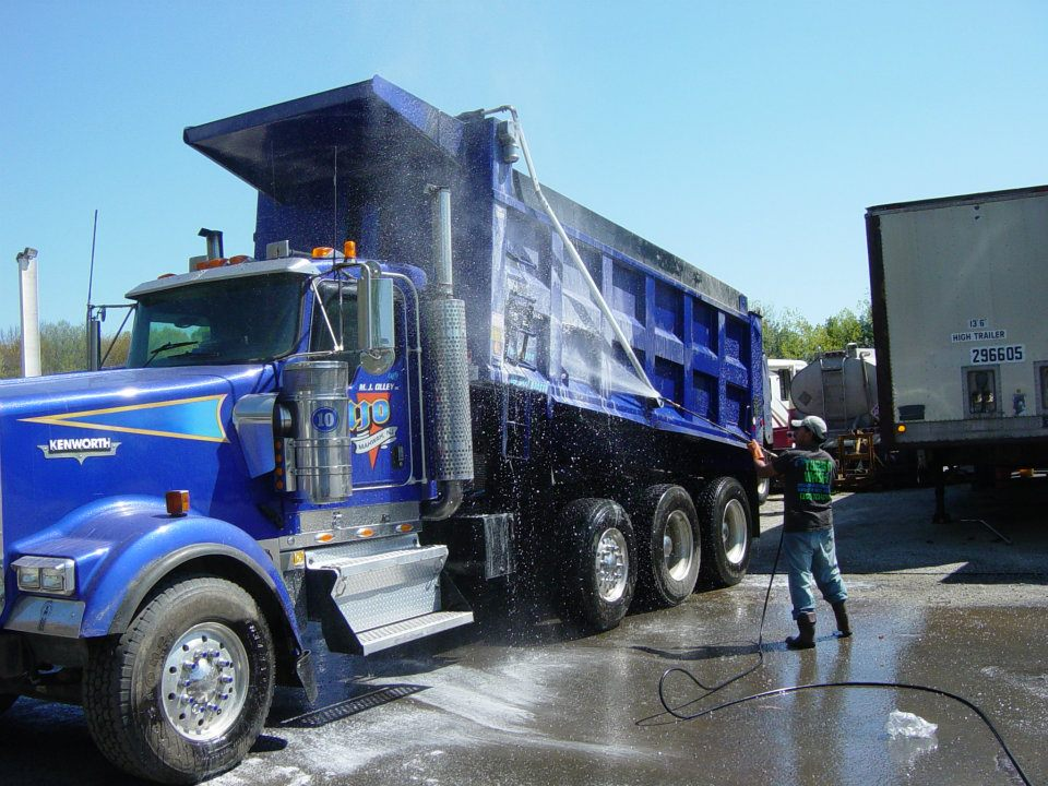 Cleaning Blue Truck Image